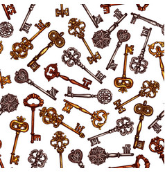 Vintage key seamless pattern background vector