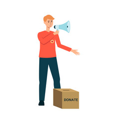 Volunteer man with donation box and megaphone vector