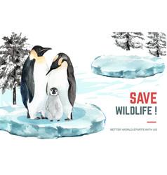 Winter animal frame design with penguin vector
