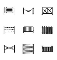 different fence icons set simple style vector image