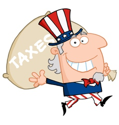 waving uncle sam carrying a taxes sack vector image