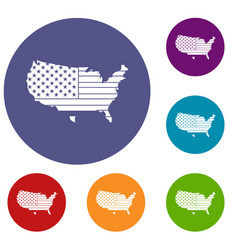 american map icons set vector image vector image