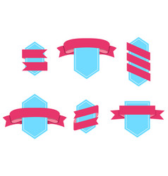 badge with curved ribbons isolated set vector image