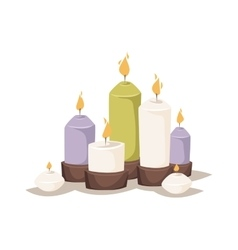 Cartoon burning candles with candle holder and vector image