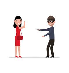 cartoon robber with a gun robbing a woman vector image