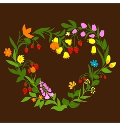 Floral heart with flowers and berries vector image