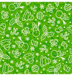 Green christmas seamless pattern in cartoon style vector image vector image