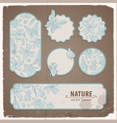 isolated flowers banner set vector image