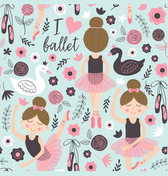 seamless pattern blue with cute ballerina girl vector image