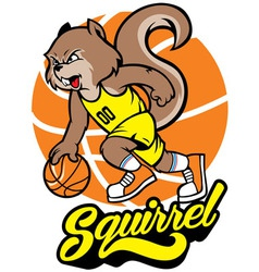 squirrel basketball mascot vector image