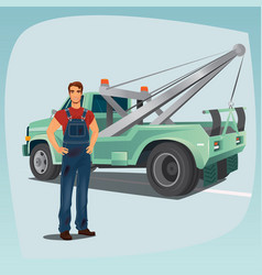 tow truck operator and pickup wagon vector image