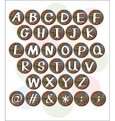 Buttons with letters of the alphabet vector image vector image