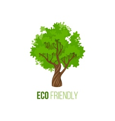 Eco friendly sign with green tree vector image vector image