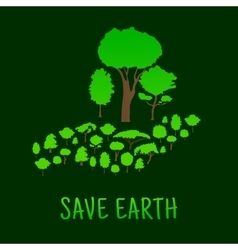 Human hand with green forest trees vector image