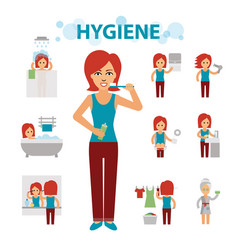 hygiene infographic elements woman is busy vector image