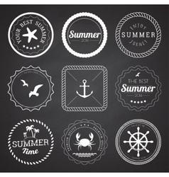 Set of 9 circle summer frames borders vector