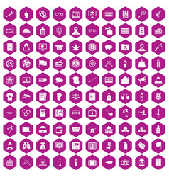 100 criminal offence icons hexagon violet vector image vector image