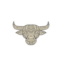 Bull Cow Head Front Mandala vector image vector image