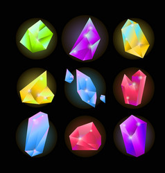 colorful crystals of various shapes set on black vector image