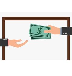 Corruption concept businessman giving a bribe vector
