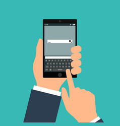 Hand holing black smartphone with blank speech vector
