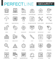 security protection thin line web icons set data vector image vector image