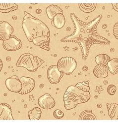 Vintage beige seamless seashells pattern vector image