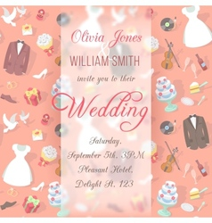 Wedding Invitation Card with Blurred Pattern vector image vector image