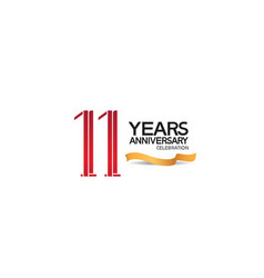 11 years anniversary template with red color vector