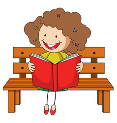 a girl reading book doodle cartoon character vector image