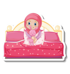 A sticker template with muslim girl sitting vector