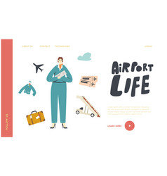 airport life landing page template stewardess in vector image
