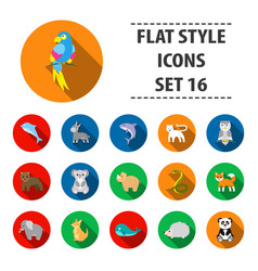 Animals set icons in flat style big collection vector