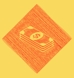bank note dollar sign red scribble icon vector image