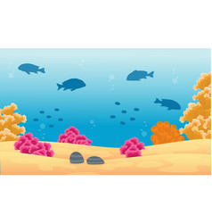 beauty landscape ocean with fish and reef vector image