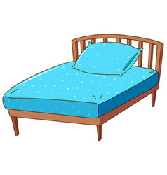 Bed with blue pillow and sheet vector