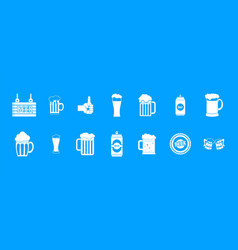 Beer icon blue set vector