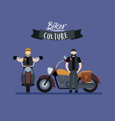 biker culture poster with pair of men in classic vector image