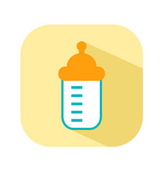 Bottle with a nipple for feeding flat color icon vector