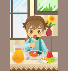 Boy eating vegetables vector
