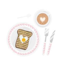 breakfast for sweetheart isolated vector image