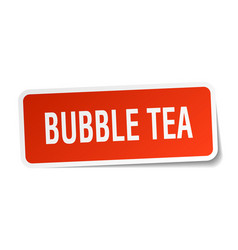 Bubble tea square sticker on white vector