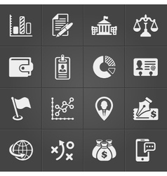 Business and finance icons on black set 3 vector