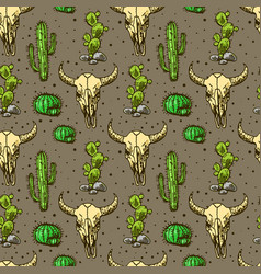 cactus and skull bull vector image
