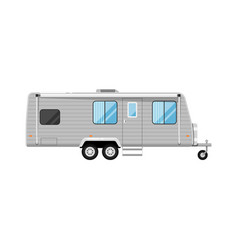 Car rv trailer isolated on white icon vector