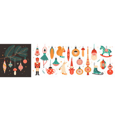 collection of beautiful baubles and decorations vector image