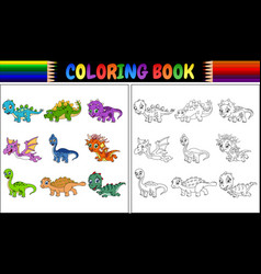 coloring book with little dinosaur cartoon collect vector image