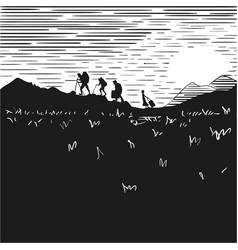 comic strip tourists at night climb mountains vector image