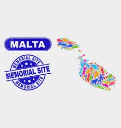 Component malta map and distress memorial site vector