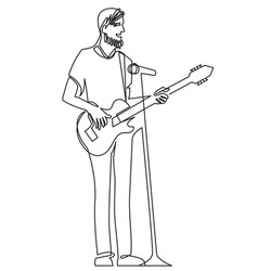 Continuous line drawing musician plays acoustic vector